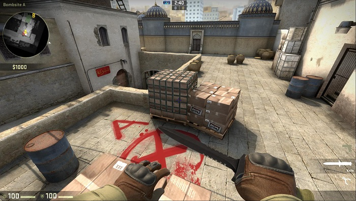 A Look at the Map de_dust2 in CSGO Bombsite A